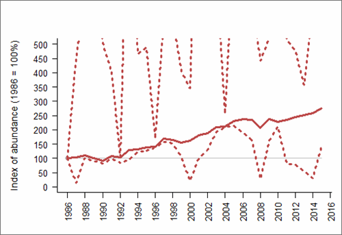 Figure 1: Trend in abundance index (solid line) of guillemot in England, 1986-2015 with 95% confidence limits (dotted lines; drawing of upper limit restricted to preserve detail in the abundance index). Based on SMP data; view the methods of analysis (PDF 158 kb).