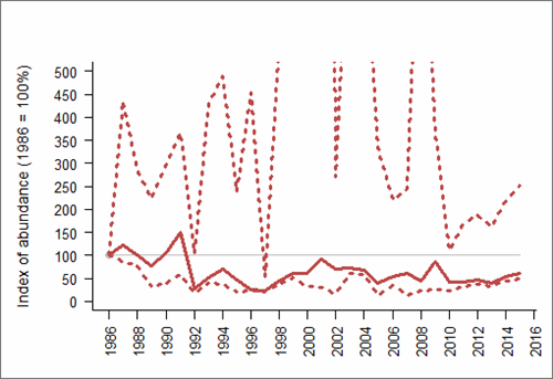 Figure 1: Trend in abundance index (solid line) of Sandwich tern in Scotland, 1986-2015 with 95% confidence limits (dotted lines; drawing of upper limit restricted to preserve detail in the abundance index). Based on SMP data; view the methods of analysis (PDF 158 kb).