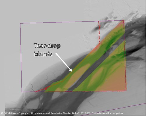 Map showing multibeam data collected at Offshore Overfalls MCZ during the current survey (colour ramp), overlaid on existing lower resolution (singlebeam) data (greyscale). The Offshore Overfalls MCZ boundary is shown in purple. © JNCC/Cefas