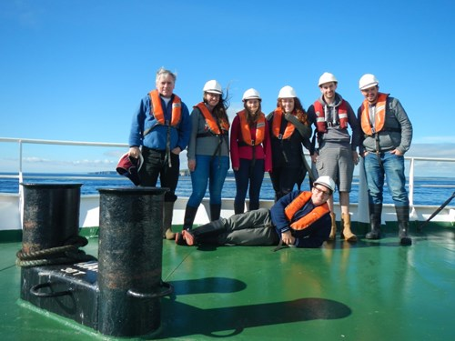 Left to right: Marine Scotland Science Scientist in Charge Eric Armstrong and (mostly) JNCC survey scientists Hannah Carr, Ellen Last, Bethany Graves, Kent Tebbutt (Benthic Solutions Ltd), Pete Chaniotis and Joey O'Connor (in front).