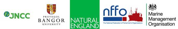 Image: Logo of JNCC, Bangor University, Natural England, NFFO, and Marine Management Organisation