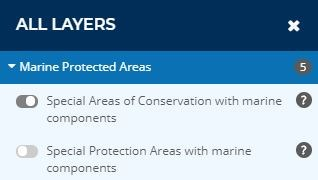 All layers window on the Marine Protected Area mapper