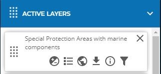 Active layers toolbar on the JNCC Marine Protected Area mapper