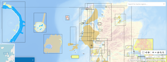 A snapshot of the seas around Scotland, showing the distribution of detailed marine habitat maps that JNCC have collated.