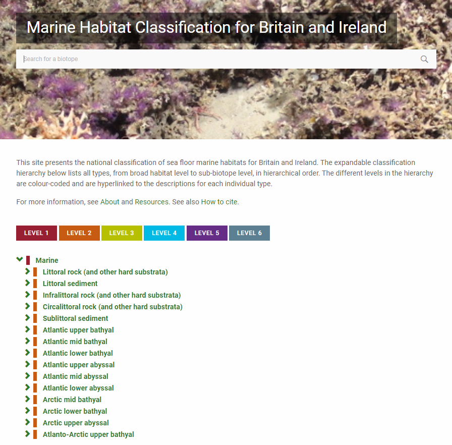 Marine Habitat Classification microsite