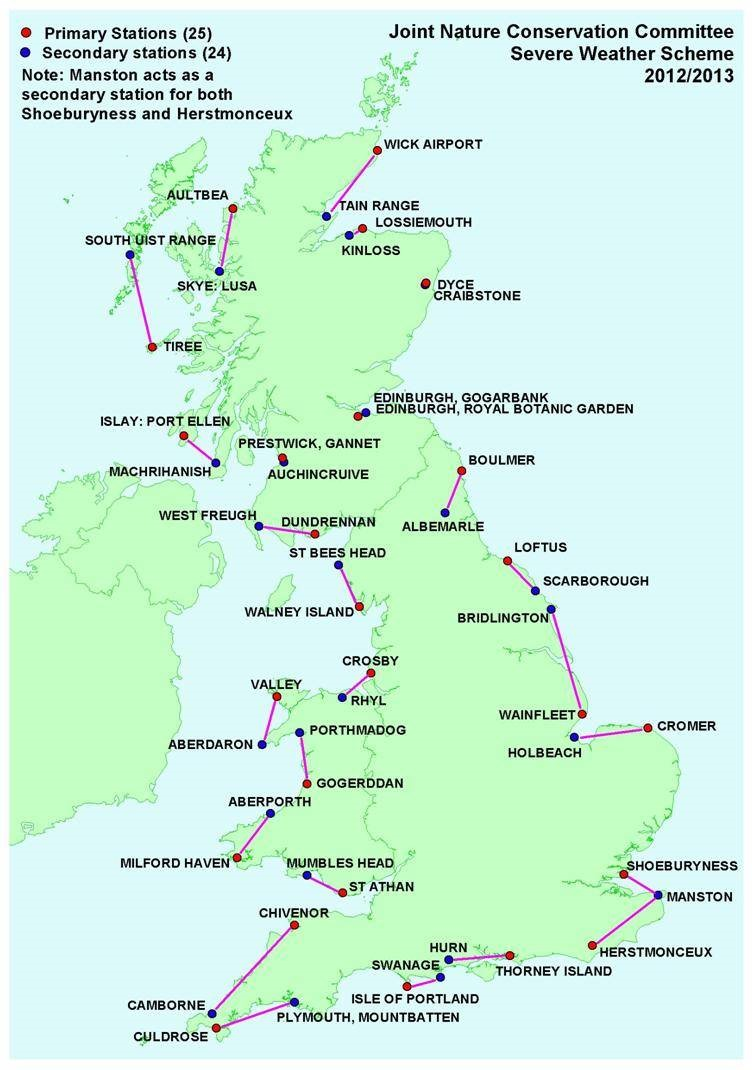 Map of Great Britain showing the location of the primary and secondary severe weather order stations.