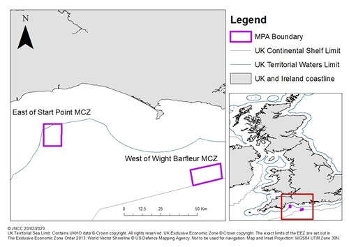 Map showing locations of East of Start Point MCZ and West of Wight Barfleur MCZ © JNCC