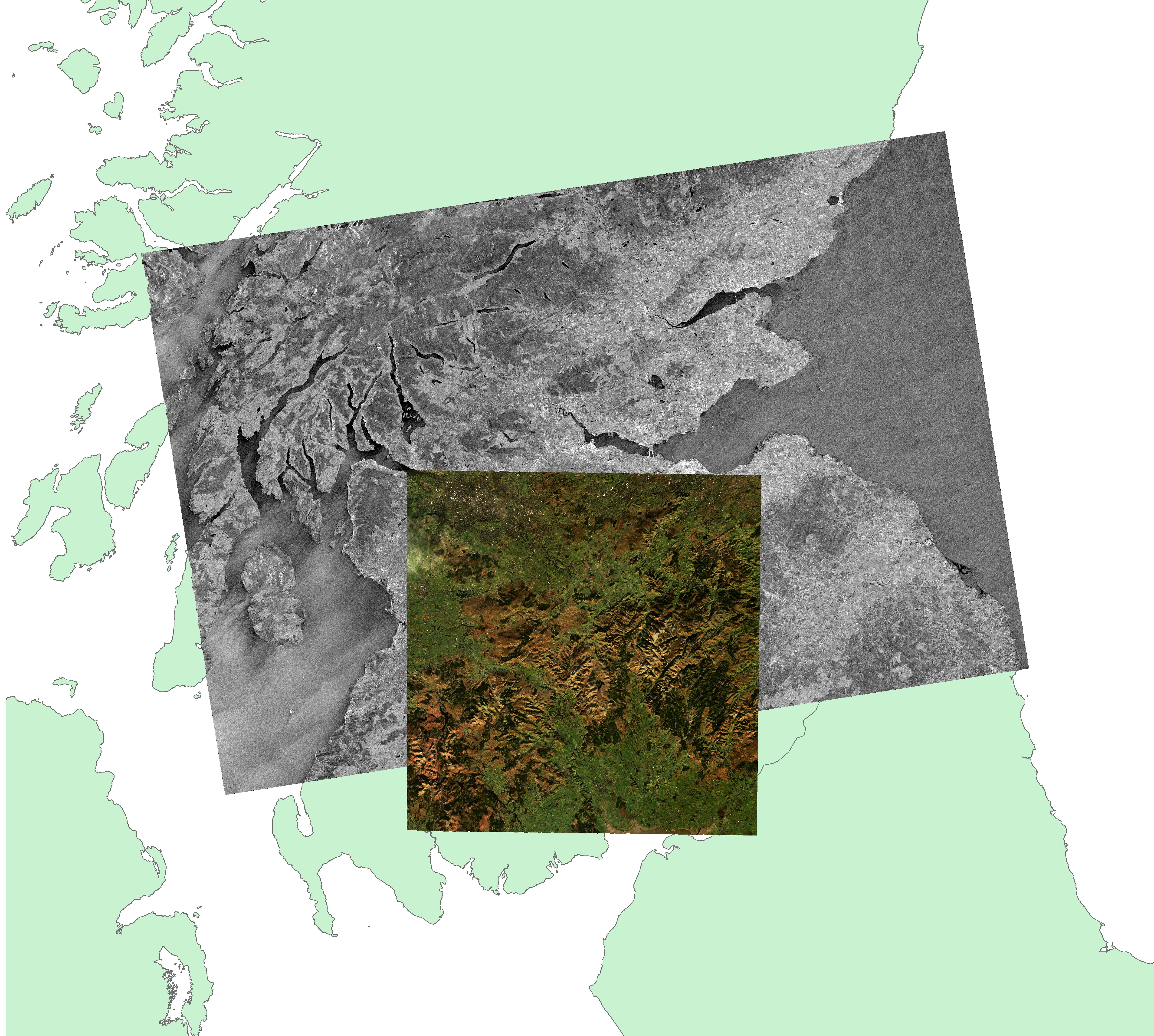 Sentinel-1 and Sentinel-2 data over a base map of Scotland