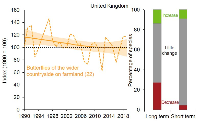 Left part is a line graph showing changes to the index of UK butterflies of the wider countryside on farmland. Smoothed index has been stable throughout the period. Unsmoothed index shows year-on-year variation. Right part is two 100% stacked bar charts showing percentage of species within index that have shown statistically significant increase, statistically significant decrease or no statistically significant change (little change) over long term (since 1990) and short term (latest 5 years).